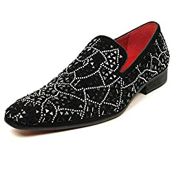 Rhinestones Over Black Suede Slip on Loafer