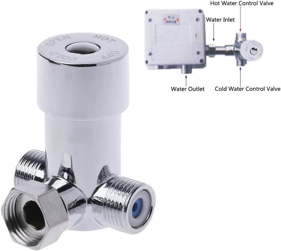 eletyuty Water Mixing Valve 1 Piece Hot /& Cold Water Mixing Valve Thermostatic Mixer Two in /& One Out