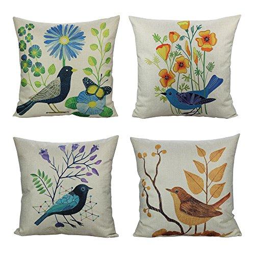 All Smiles Outdoor Throw Pillow Covers Case Birds Decorative Vintage Cushion Cotton Linen 18x18 Set of 4 Patio Couch Sofa,Mexican Farmhouse Décor