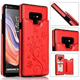 Back Wallet Case for Samsung Galaxy Note 9 with Stand,QFFUN Elegant Embossed Design [Butterfly Flower] Lightweight Slim Fit Leather Phone Case with Card Holder Protective Bumper Flip Cover - Red