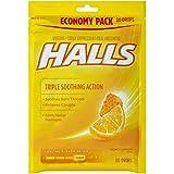 Halls Honey Lemon Cough Drops - with Menthol - 80 Drops (1 Bag of 80 Drops)