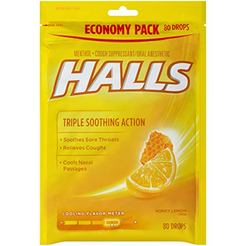 HALLS Honey Lemon Flavor Menthol Drops 80 ct. Bag Triple Soothing action
