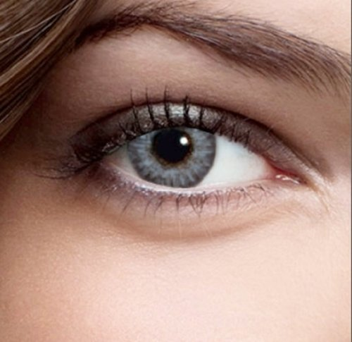 Farbige Kontaktlinsen Monatslinsen Silber Grau Dreifarbig weiche Funlinsen ohne Stärke + 1 Kontaktlinsenbehälter