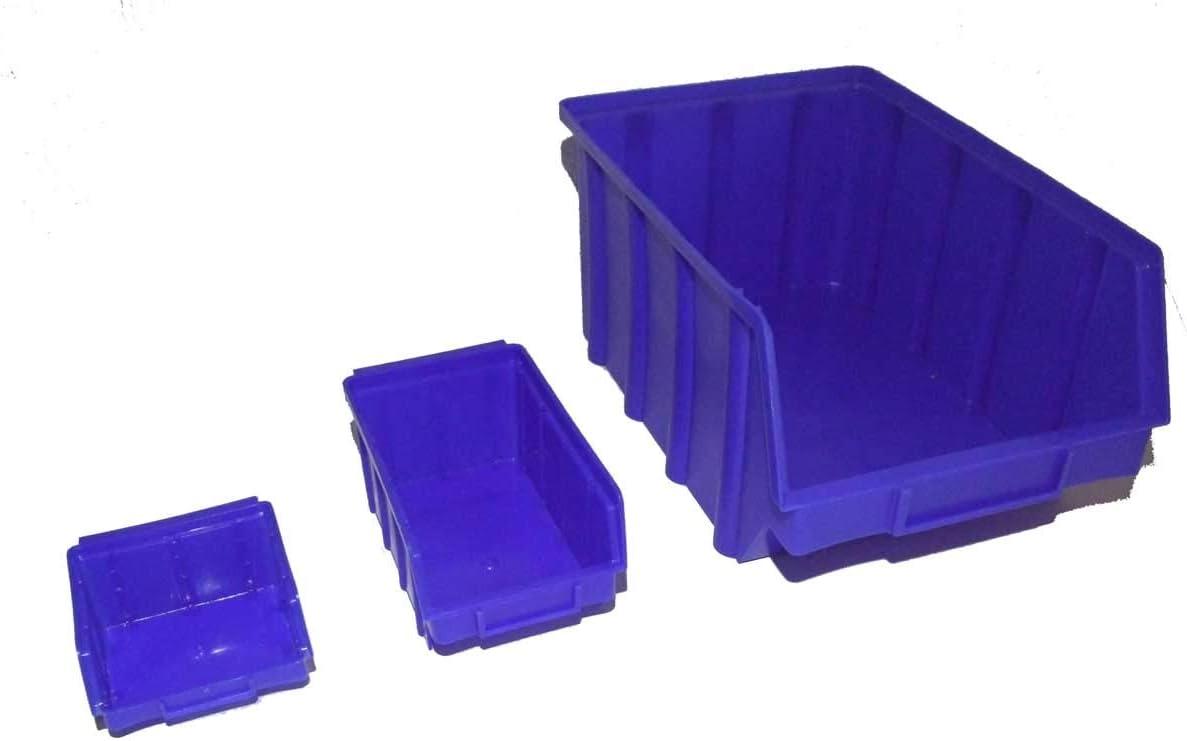 40 Stapelboxen PP Kunststoff Gr.4 blau Sichtlagerkästen Stapelkästen Lagerbox