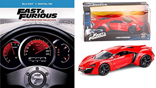 Lykan Street Racing Fast & Furious 1-7 Collection Super Charged Edition / 2 / Tokyo Drift / Five + Car Set (Blu-ray + DIGITAL HD) + Movie Replica Car Hypersport Real Riders Package (Fast And Furious Complete Collection Blu Ray)