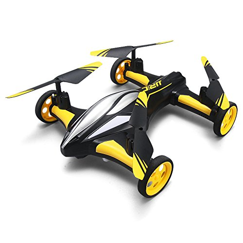 (MKLOT JJRC H23 Flying Car Drone Air Ground Dual Mode Quadcopter 3D Flips 6-Axis RTF w/One-Key Return Headless Mode Led Lights Helicopter Best Gift for Boys Kids Children - Yellow)