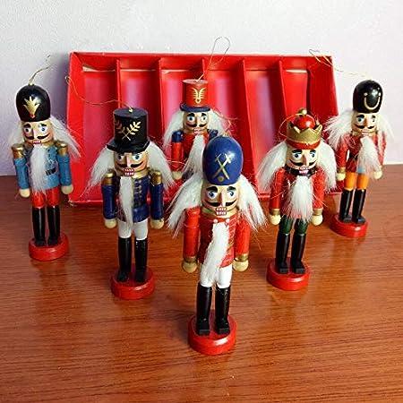 Christmas Decoration 1pcs 12cm Zakka Wood Made Nutcracker Puppet New Year Christmas Desktop Ornaments Drawing Walnuts Soldiers,Q 1Pcs Sent randomly