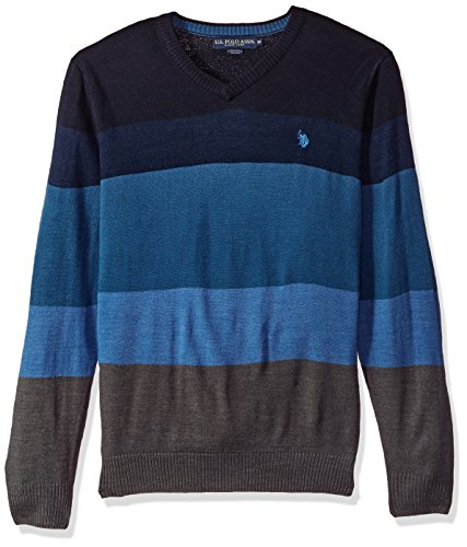U.S. Polo Assn. Mens All Over Striped V-Neck Sweater
