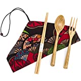 EIETC Wooden Cutlery Set | Travel Utensils Set | Eco Friendly Reusable Flatware | Fork, Spoon, Chopsticks Portable Pouch | Lightweight Stronger than Bamboo Utensils for Camping Office Lunch