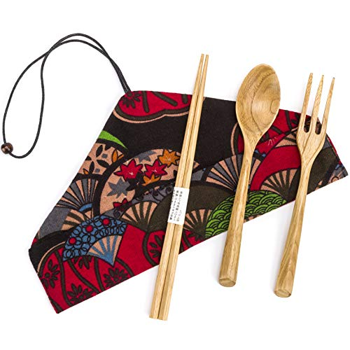 EIETC Wooden Cutlery Set | Travel Utensils Set | Eco Friendly Reusable Flatware | Fork, Spoon, Chopsticks Portable Pouch | Lightweight Stronger than Bamboo Utensils for Camping Office Lunch ()