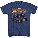 Marvel Avengers Infinty War Team Circles Mens Graphic T-Shirt (Large, Heather Navy)