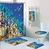 Bathroom 5 Piece Set shower curtain 3d print Multi Style,Ocean,Clear Sea Animal World Corals Tropical Fishes and Starfish Egyptian Sea Image,Aqua Blue and Tan,Bath Mat,Bathroom Carpet Rug,Non-Slip,Bat
