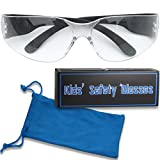 Small kids safety glasses with blue pouch for kids woodworking construction robotics competition or children's nerf party