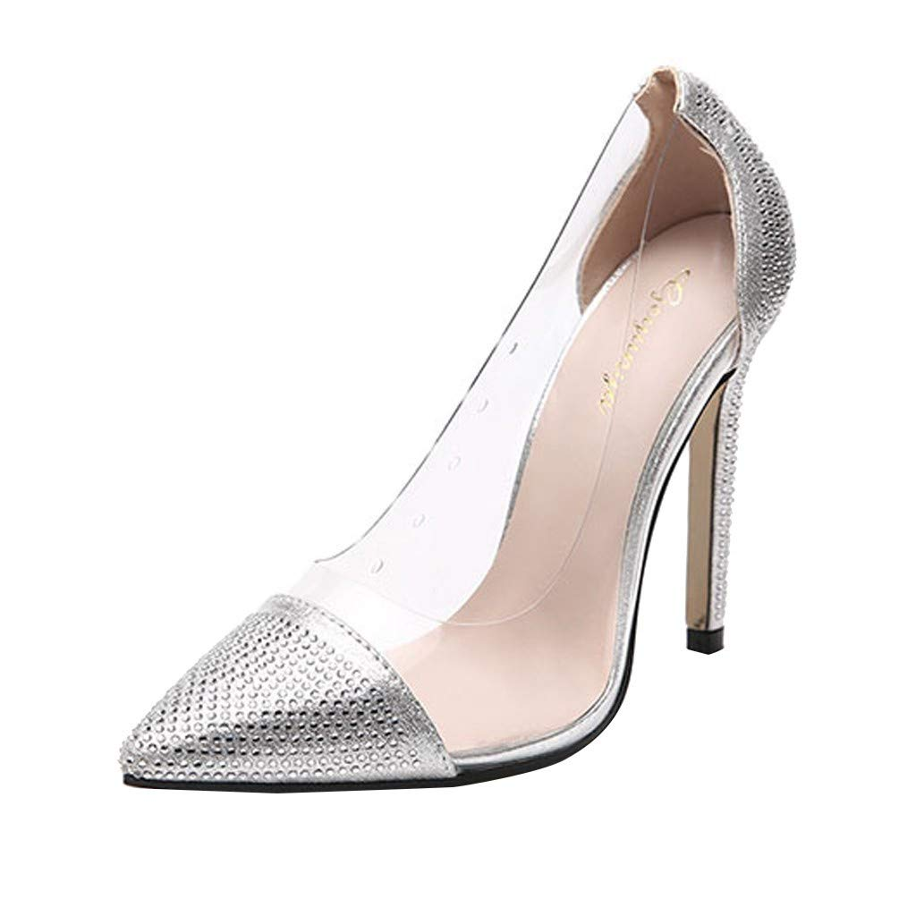 ZOMUSAR New! 2019 Women's Summer Casual Fashion Rhinestone Pointed Nightclub High Heels Shoes Silver