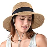 FURTALK Womens Beach Sun Straw Hat UPF50 Travel Foldable Summer Hat...