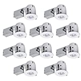Globe Electric 4'' Swivel Spotlight Recessed Lighting Kit Dimmable Downlight, Contractor's 10-Pack Round Trim, White Finish, Easy Install Push-N-Click Clips, 90540
