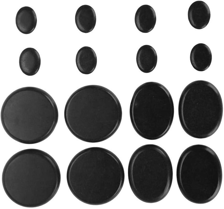 Juego de piedras de masaje en caliente, suave y natural, balneario negro, forma ovalada, aceite esencial de rodilla volcánica, 16 piezas/caja