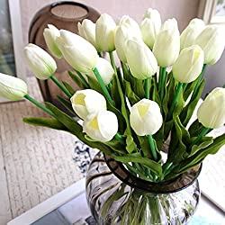 Supla 30 Pcs Soft Touch Tulip Stem Artificial Flower fake Tulips PU Tulips Flowers Arrangement Bouquet in White for Floral Arrangment Wedding bouquet Home Room Centerpiece Party Wedding Decor