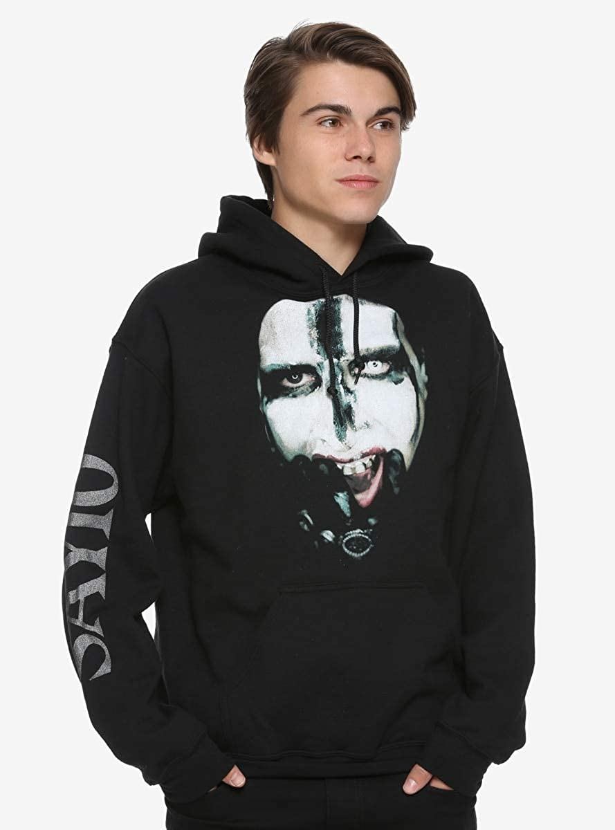100% authentic cheap on feet shots of Amazon.com: Marilyn Manson Say10 Face Hoodie Black: Clothing