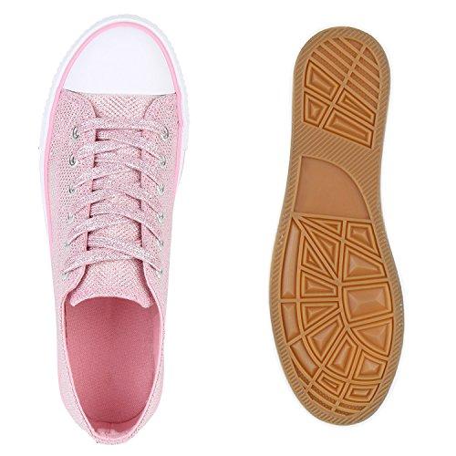 Stiefelparadies - Zapatillas Mujer Rosa Glitzer