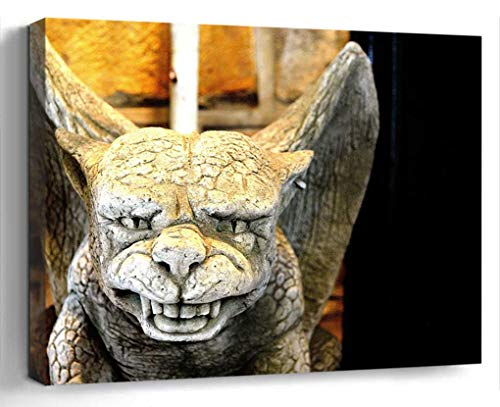Wall Art Canvas Print Photo Artwork Home Decor (24x16 inches)- Gargoyle Statue Stone Monster Symbol Decorat