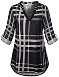 Viracy Plaid Shirts for Women, Juniors Long Sleeve Tops XL Cuffed Sleeve Tunic Blouses Deep V Neck Henley Loose Pattern Printed Clothing Vocation Office Dress Checked Tartan Black XL