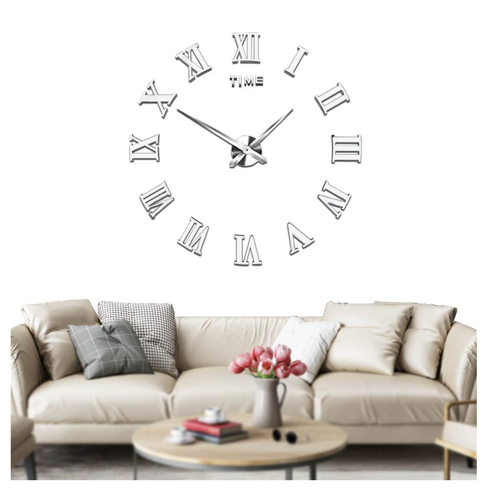 Mute DIY Frameless Large Wall Clock Roman Numerals 3D Mirror Sticker Home Office Decorations - 2 Years Warranty (Silver) Mintime