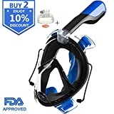 Snorkel Mask,Lattcure 180° Full Face Diving Snorkeling Mask with Detachable Gopro Mount&Earplugs,Soft One-piece Silicone Skirt with FDA-approved,Anti-Fog/Anti-Leak for Kids/Adults(Black+Blue L/XL)