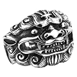 ZMY Mens Fashion Jewelry Rings, 316L Stainless Steel Chinese Kylin Design Animal Ring for Men (9)