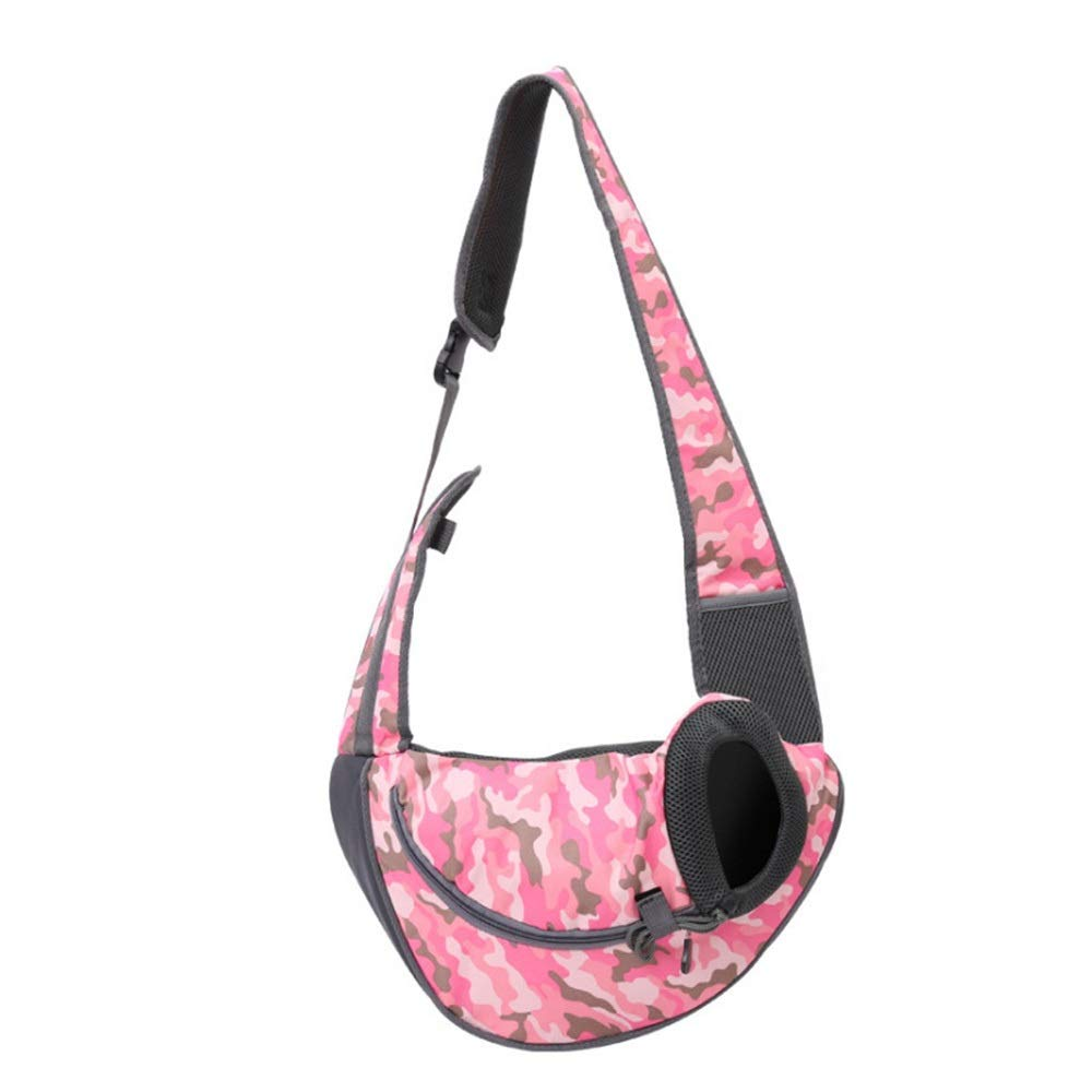 Pink camouflage LHYUE Pet Shoulder Bag Out Commodious Package Fashion Breathable Separatrix Cat Backpack (color   Pink Camouflage, Size   L)