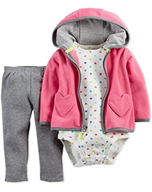 Carters Baby Girls' 3-Piece Pink Heart Cardigan, Pants and Bodysuit Set