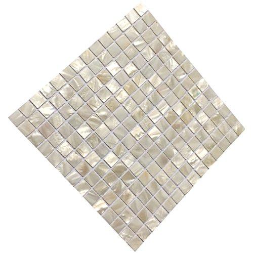 "Art3d Mother of Pearl White Mini Square Mosaic Tile 12"" X 12"""