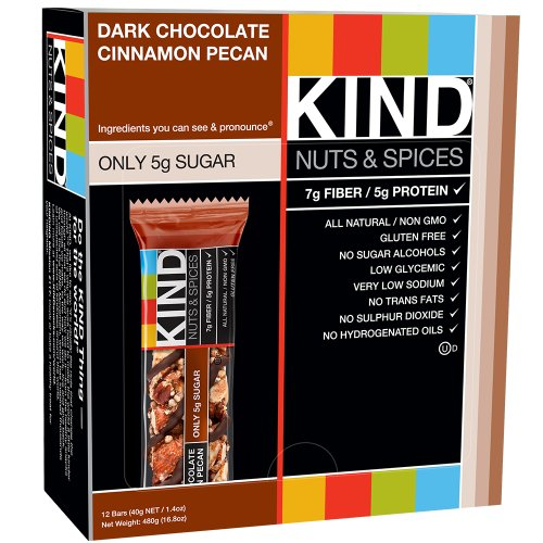 KIND Bars, Dark Chocolate Cinnamon Pecan, Gluten Free, Low Sugar, 1.4oz, 12 Count (Sugar Chocolate Bar)