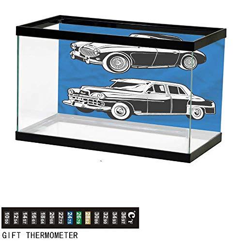 bybyhome Fish Tank Backdrop Cars,Black and White Vehicle,Aquarium Background,36