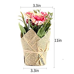 The Bloom Times 3 Packs Artificial Potted Hydrangea Flowers, Fake Small Silk Flowers Floral Arrangement Greenery Plants for Table Home Office Centerpieces Windowsill Wedding Party Decor 5