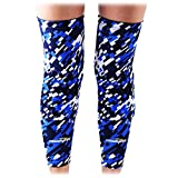 COOLOMG (Pair) Basketball Knee Pads For Kids Youth Adult Long Leg Knee Sleeves Protector Gear EVA Digital Camo Blue Navy X-Small