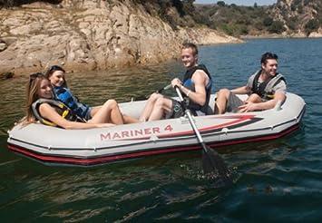 Intex Mariner 4 Inflatable Raft River Lake Dinghy Boat Set Motor Mount Kit