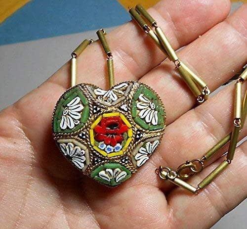 Circa 1890s Unusual Design Wow Antique Victorian Heart Shaped Micro Mosaic Pendant Unique Charming Motif