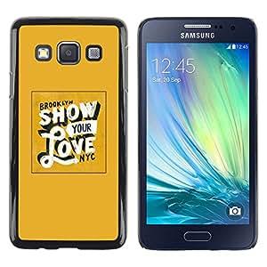 Be Good Phone Accessory // Dura Cáscara cubierta Protectora Caso Carcasa Funda de Protección para Samsung Galaxy A3 SM-A300 // Show Your Love Yellow Gold New York