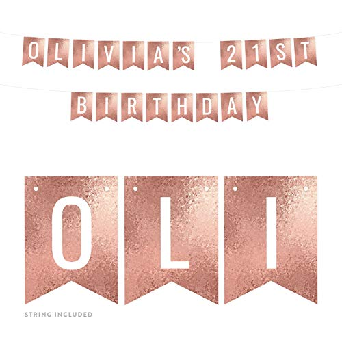 Andaz Press Personalized Rose Gold Glitter Mosaic Party Banner Decorations, Olivia's 21st Birthday, Approx 5-Feet, 1-Set, Colored Hanging Pennant Decor, Custom Name ()