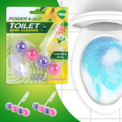 (2 Pack Automatic Toilet Bowl Cleaner 4-in-1 Rim Hanger Deodorant Cleaner Solid Air Freshener Indoor Mixed Floral Perfume Bathroom Cleaners)