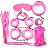 7Pcs/ Set Bondage Kit Faux Leather Fetish Kit Restraints Sex Toys for Couple Handcuffs 10M Rope Adult Games Sex Products XN0070 Red
