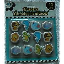 Jot 12 Pack Erasers - Animals - Dog, Dolphin, Elephant, Hippo, Lion, Turtle