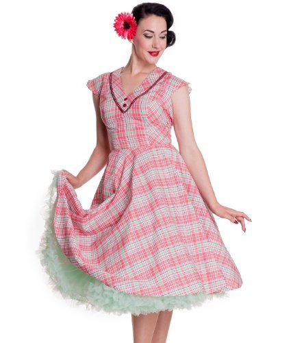 Hell Bunny 50's Carol Retro à carreaux Robe Été Rose/Mint