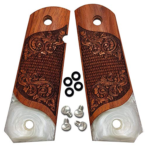 1911 Grips Full Size by Dan Eagle Exotic Solid Rosewood & Simulated Pearl Fits Government and Commander Scroll - Scroll Design Pearl