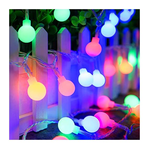 """Ollny Globe String Lights 100 LED 33ft for Indoor Bedroom Wedding Party Outdoor Christmas Garden Decorations Bulb Fairy String Lights with Remote Plug in Multi Color - 💡 8 LIGHTING MODES: The multi-color globe string lights, string length is 33ft, have 100 LEDs and 8 working modes - Combination, In Waves, Sequential, Slo-Glo, Chasing/Flash, Slow Fade, Twinkle/Flash, Steady on. You can use the remote to choose your favorite mode. Softer lights creating warm romantic atmosphere for your family at every moment. 💡 TIMER FUNCTION: TIMER FUNCTION: The fairy string lights come with a remote. Remote control has memory function, no need to repeat settings. If you want to reset you can pull out adapter/plug directly. When the adapter/plug has been pulled out and turned on again, the default light mode is automatically turned on. And you can set the """"Timer"""" by remote, the string lights will be automatically on for 6 hours and off for 18 hours per day. 💡 SAFE FOR USE: UL certificated plug, advanced LED bulbs and really safe DC 29V low voltage plug for use in your home. The high-quality keeps the lights at a low temperature so they are safe to touch after many hours of use. - patio, outdoor-lights, outdoor-decor - 51UPuY%2BXZVL. SS570  -"""