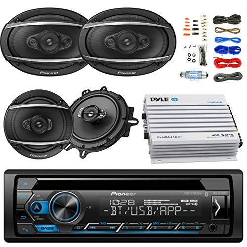 Pioneer Car Bluetooth Radio USB AUX CD Player Stereo Receiver - Bundle with 2x TSA1670F 6.5