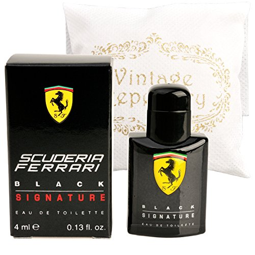 Original Scuderia Ferrari Black Signature Eau De Toiltte EDT 4ml 0.13oz Cologne for Men Homme Perfume Miniature Mini Parfum Collectible Bottle New In (0.13 Ounce Mini Perfume)