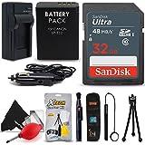 SanDisk 32GB Ultra SD Memory Card + LP-E12 / LP-E12 Battery / Charger + Xtech Starter Kit for Canon Rebel SL1, EOS M100, EOS-M, EOS M2, EOS M10, EOS 100D DSLR Cameras