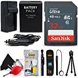 SanDisk 32GB Ultra SD Memory Card + LP-E12 / LP-E12 Battery / Charger + Xtech Starter Kit for Canon Rebel SL1, EOS M100, EOS-M, EOS M2, EOS M10, EOS 100D DSLR Cameras